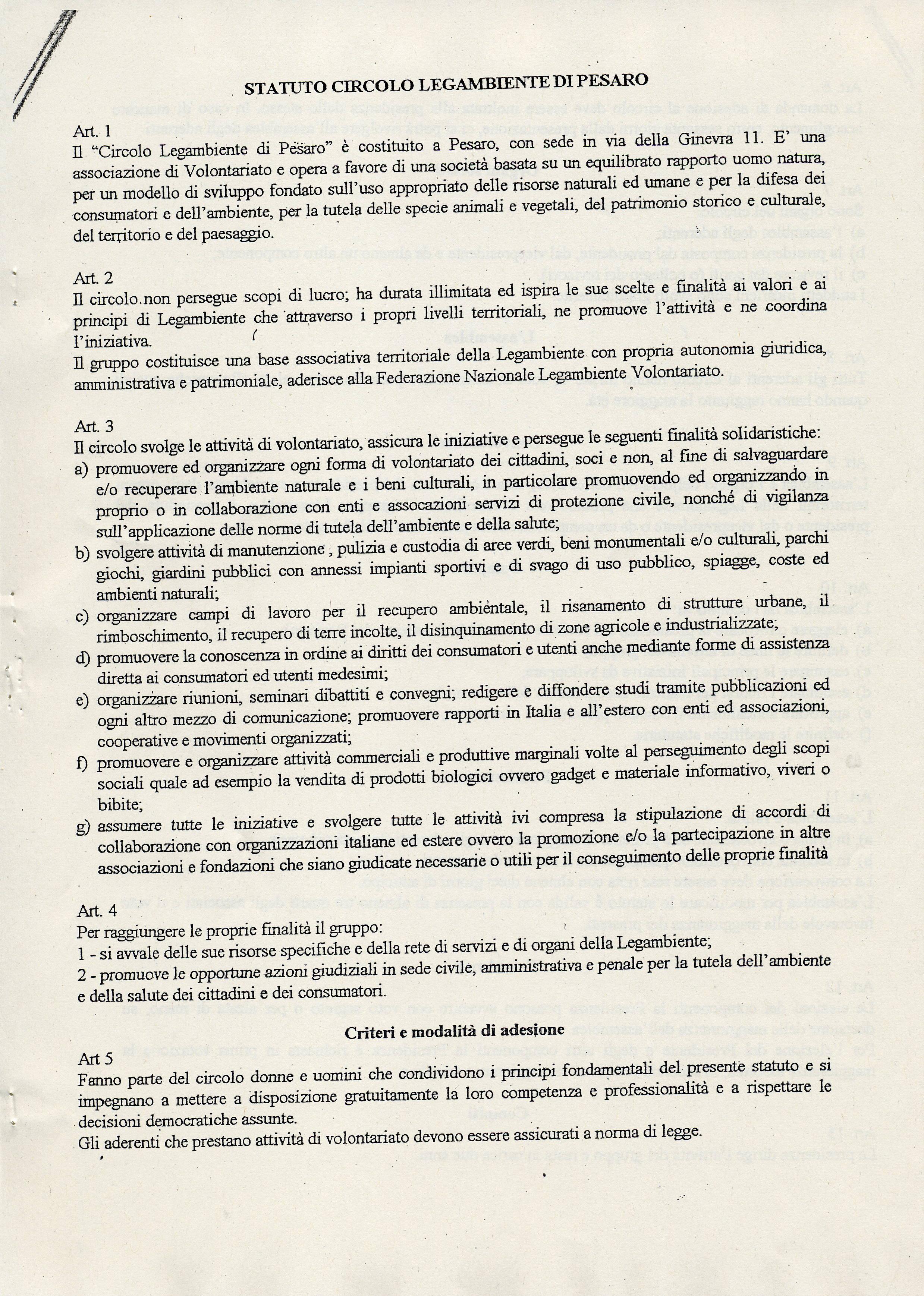 Pagina 1 dello Statuto