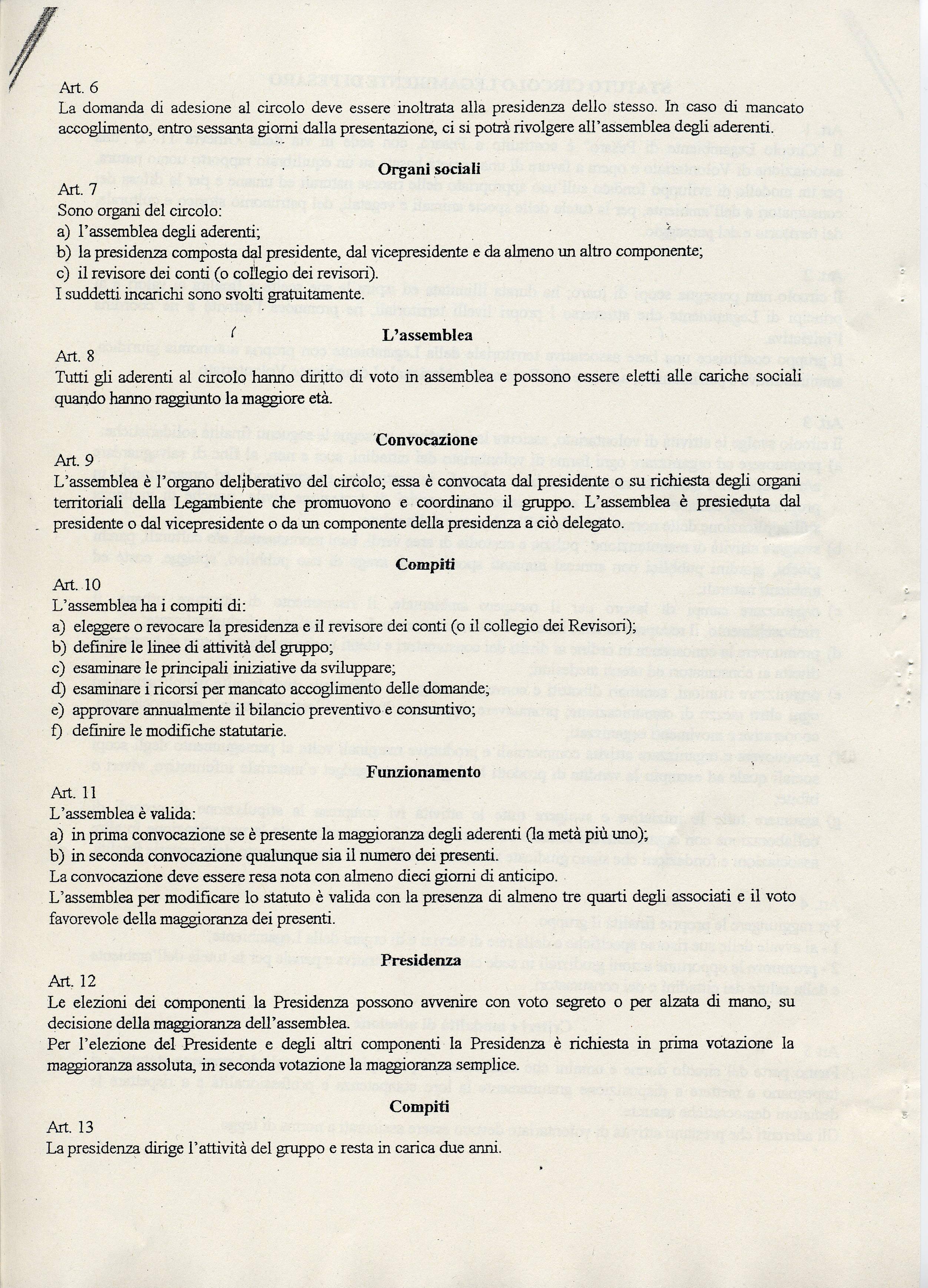 Pagina 2 dello Statuto